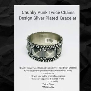 Chunky Punk Twice Chains Design Silver